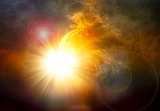 Световой луч и дым с пирофакелом Стоковое Изображение