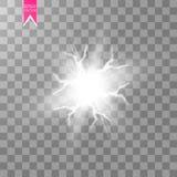 Световой эффект белого абстрактного взрыва удара энергии специальный с искрой Группа молнии силы зарева вектора электрическо бесплатная иллюстрация