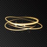 Световой эффект движения скорости круга золота неоновый с искрами Стоковые Фотографии RF