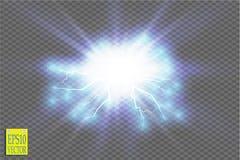Световой эффект голубого абстрактного взрыва удара энергии специальный с искрой Группа молнии силы зарева вектора электрическо иллюстрация вектора