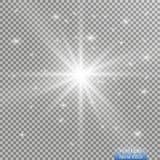 Световой эффект зарева Взрыв звезды с Sparkles Золотые накаляя света Стоковое Изображение