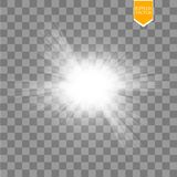 Световой эффект зарева Starburst с sparkles на прозрачной предпосылке также вектор иллюстрации притяжки corel Стоковое фото RF