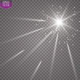 Световой эффект зарева Starburst с sparkles на прозрачной предпосылке также вектор иллюстрации притяжки corel солнце