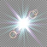 Световой эффект зарева Starburst с sparkles на прозрачной предпосылке также вектор иллюстрации притяжки corel солнце Вспышка рожд Стоковое Изображение