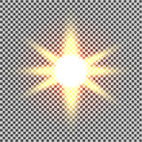 Световой эффект зарева Starburst с sparkles на прозрачной предпосылке также вектор иллюстрации притяжки corel солнце Вспышка рожд Стоковые Фото