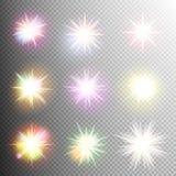 Световой эффект играет главные роли взрывы 10 eps Стоковое Изображение