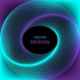 Световой эффект круга с голубыми линиями абстрактная предпосылка иллюстрация вектора