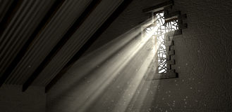 Световые лучи витража загоренные распятием Стоковые Изображения RF
