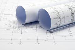 Светокопии плана строительства Стоковые Изображения RF
