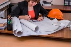 Светокопии чертежа архитектора женщины Стоковое Изображение RF