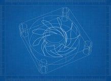 Светокопия архитектора вентилятора компьютера иллюстрация штока