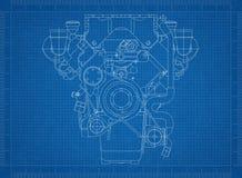 Светокопия двигателя автомобиля иллюстрация штока