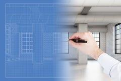 Светокопия комнаты просторной квартиры чертежа руки Man's иллюстрация штока