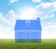 Светокопия коттеджа на зеленой лужайке Стоковое Фото