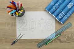 Светокопия 2018 Новых Годов Стоковое фото RF