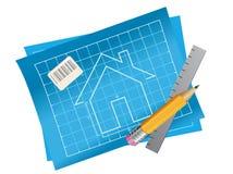 Светокопия плана многоквартирного дома с вид спереди, правителем и карандашем иллюстрация штока