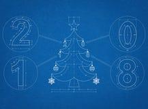Светокопия рождественской елки 2018 Стоковое Изображение