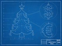 Светокопия рождественской елки Стоковые Фото