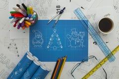 Светокопия символов Нового Года Стоковые Фото