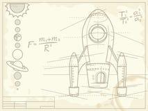 Светокопия с космическим кораблем и планетами Стоковые Изображения