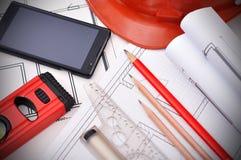 Светокопия, телефон и инструменты стоковые изображения rf