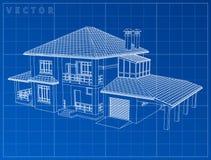 Светокопия чертежа Wireframe дома 3D - Vector иллюстрация Стоковое Изображение