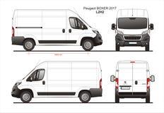 Светокопия L2H2 Van поставки 2017 груза боксера Пежо иллюстрация вектора