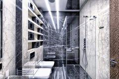Светотеневой мрамор в интерьере современной ванной комнаты в роскошной квартире Стоковые Фотографии RF