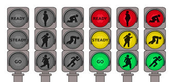 Светофоры для идущих пешеходов Стоковая Фотография RF