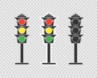 Светофор, значок мультфильма, стикер Объект вектора изолированный на прозрачной предпосылке иллюстрация штока