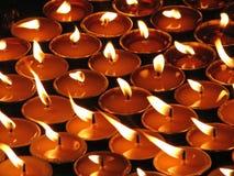 светы горящей свечи Стоковая Фотография