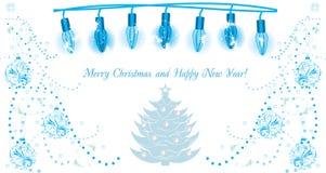 Светящая гирлянда рождества Предпосылка для поздравительной открытки Стоковые Изображения RF