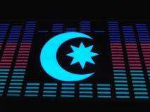 Светящая звезда Азербайджана на флаге стоковая фотография rf