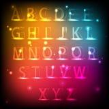 Светящий алфавит Неоновый английский шрифт Стоковые Изображения