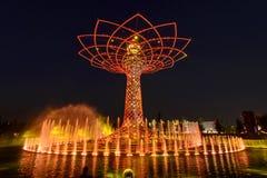 Светлая выставка на дереве жизни 14, милан 2015 ЭКСПО Стоковые Фотографии RF