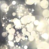 Светлая серебряная роскошная абстрактная предпосылка рождества с белым sno Стоковое Изображение