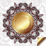Светлая флористическая предпосылка с картиной круга золота Стоковые Изображения