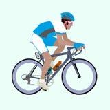Свет вектора - голубая иллюстрация велосипедиста белых гонок Стоковая Фотография