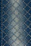 Свет-голубая джинсовая ткань с желтым цветом и стразами серебра Стоковые Фото