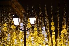 Свет города Москвы с украшениями Нового Года праздника стоковое изображение