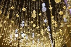 Свет города Москвы с украшениями Нового Года праздника стоковое изображение rf