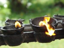 свет горящей свечи, огонь, макрос Стоковые Фотографии RF