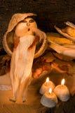 свет горящей свечи осени Стоковые Фото