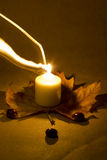 Свет горящей свечи с украшением осени Стоковая Фотография RF