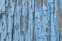 свет - голубое шелушение краски от деревянных доск Стоковое Изображение