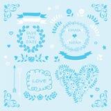 Свет - голубой комплект элемента дизайна приглашения свадьбы вектора Стоковые Изображения
