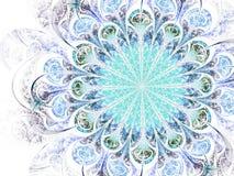 Свет - голубой цветок фрактали, цифровое художественное произведение Стоковые Изображения RF