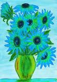 Свет - голубые цветки, иллюстрация Стоковое Изображение RF