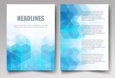 Свет - голубые шестиугольники и треугольники Просвечивающая предпосылка мозаики Брошюры дизайна шаблона, рогульки, буклет, отчет  иллюстрация штока