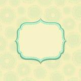 Свет - желтая карточка сбора винограда с зеленым декором Стоковые Фото